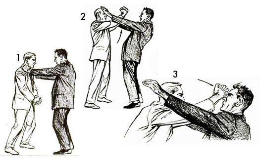 Vintage self defense illustration businessman nose break.