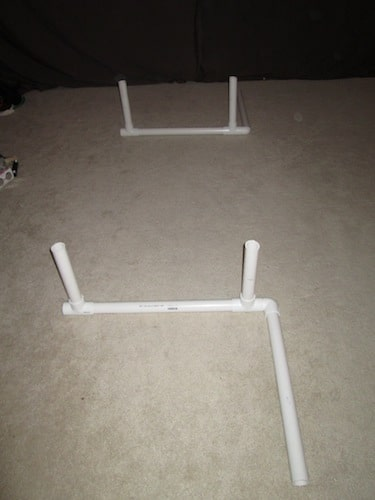 Step 2: Attach your T sections and 1 foot pipes on the left end as shown below. You are creating your parallel bars now.