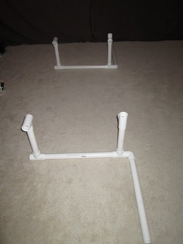 Step 3: Attach four T sections on top of the one foot sections. Make sure to pay attention to how they are attached. One set will be horizontal. The other set will be vertical but both will have openings toward each other.
