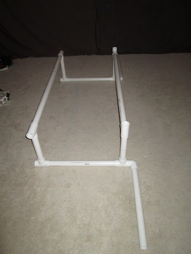 Step 4: Insert your two 4 foot 3 inch section as your cross bars as shown below.