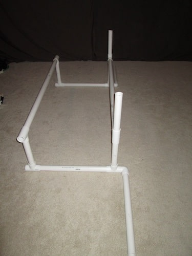 Step 5: Insert two 1 foot sections on top of the T sections.