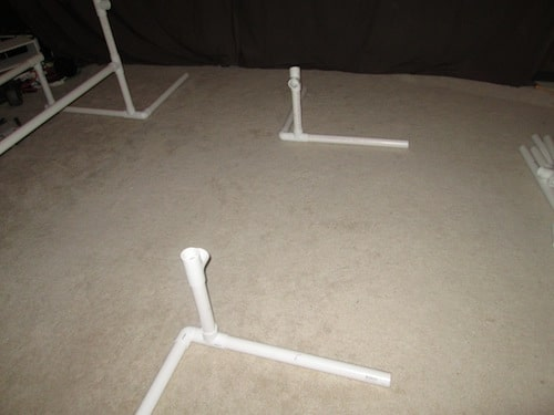 Step 10: Insert two T sections so that the middle whole is facing each other.