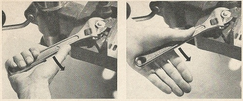 Vintage photo how to use wrench pull versus push.