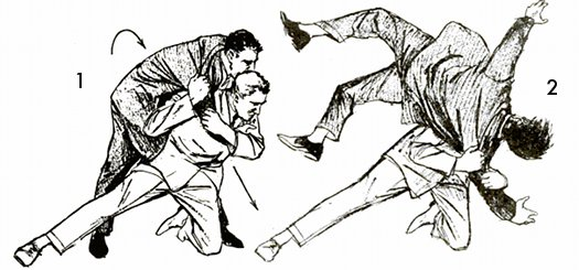 Vintage self defense illustration businessman shoulder drop.