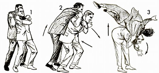 Vintage self defense illustration businessman shoulder throw.