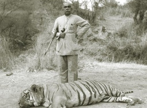 vintage man hunter posing with dead tiger