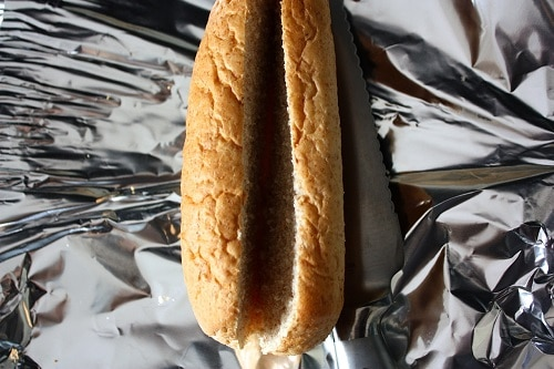 I prefer my hoagies soft and not toasted, so I like to cut them open lengthwise, wrap in foil, and warm in an oven.