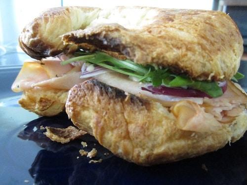 turkey bleu cheese arugula croissant sandwich
