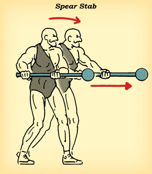 steel mace spear stab workout how to diagram illustration