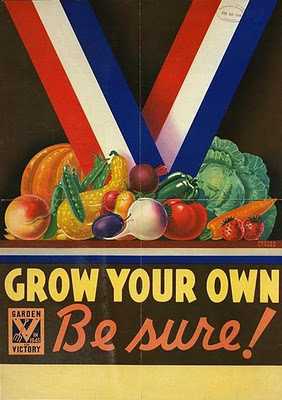 Vintage gardening poster grow your own.