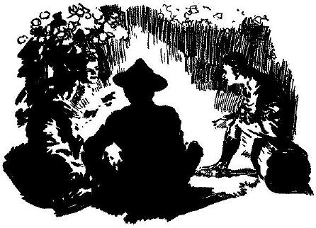 Silhouette boy scouts sitting around campfire.