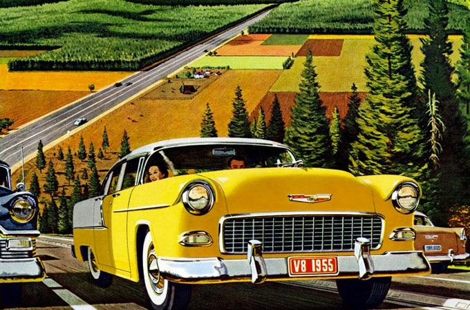 vintage illustration yellow car automobile on highway farmland
