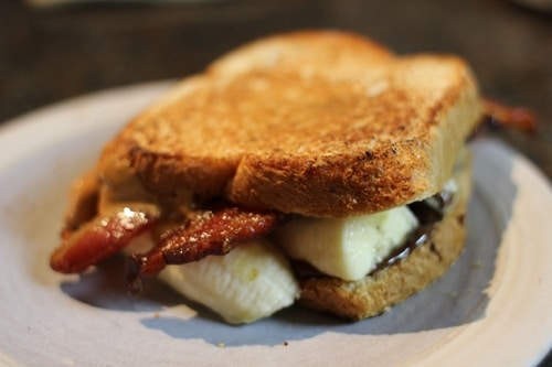 peanut butter bacon banana nutella sandwich