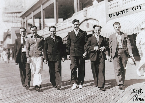 vintage friends walking down atlantic city boardwalk