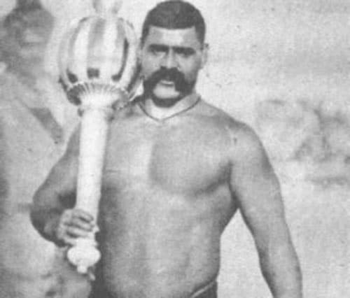great gama wrestler with giant mace