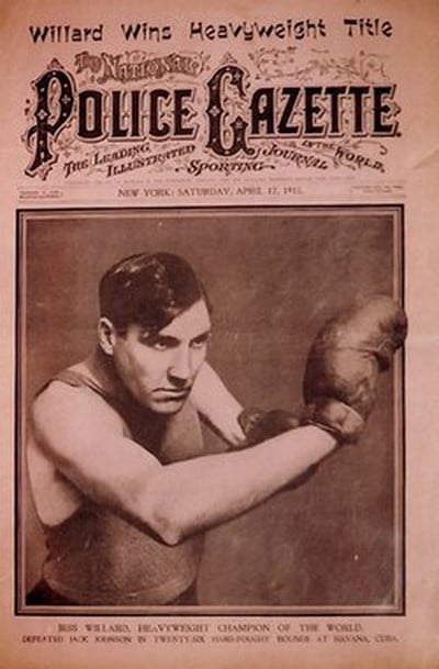 police gazette magazine cover boxer willard