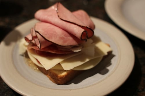 Vintage layer of ham on a plate.