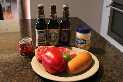 ingredients for beer marinated steak sandwich