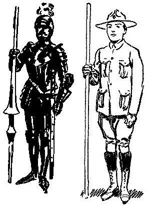 Vintage knight illustration from boy scouts handbook.