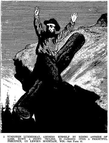 Vintage man falling of a cliff on a log.