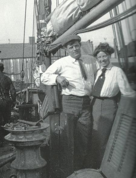 london and charmian on snark yacht sailing around world