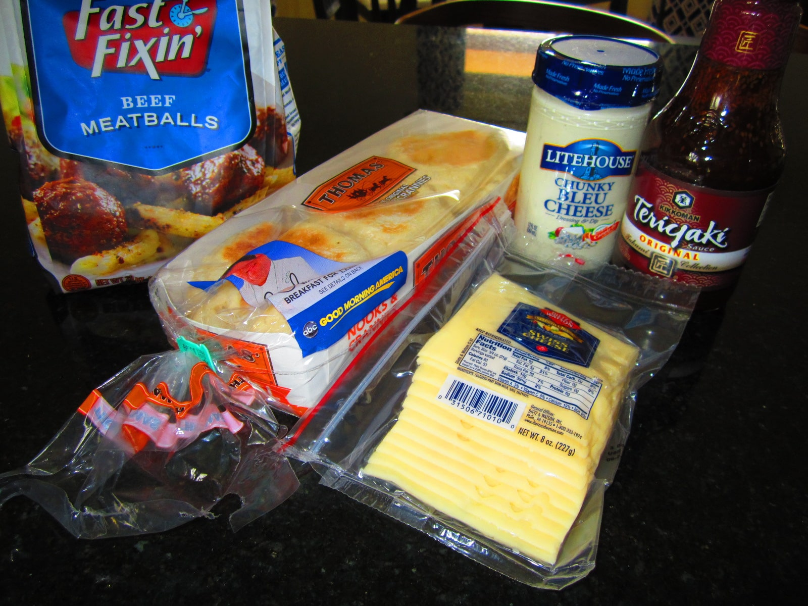 ingredients for bleu cheese meatball sandwich