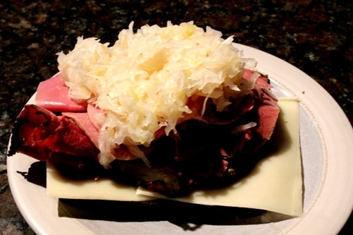 Vintage layer meats and kraut in plate.