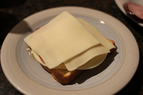 Vintage layer of mozzarella on a plate.