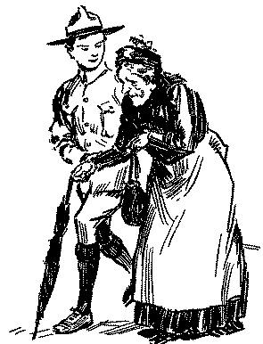 Vintage illustration from boy scouts handbook helping old lady.