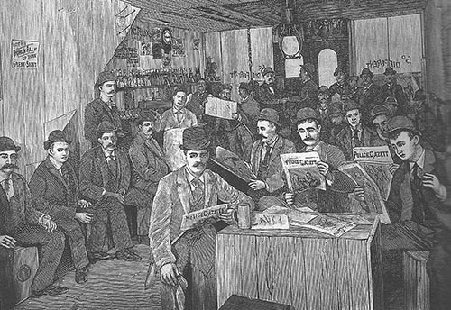 illustration of men reading police gazette in saloon