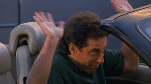 jerry seinfeld sorry wave in convertible