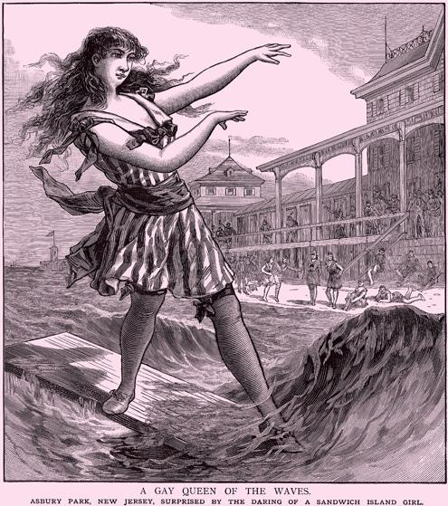 Vintage women surfing close up illustration.