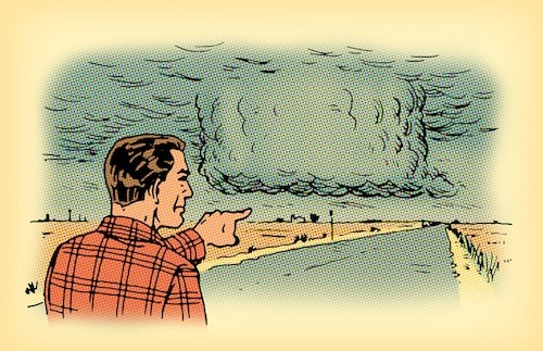 man pointing to Wall Cloud illustration survive tornado