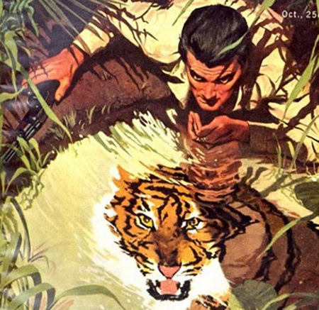 vintage illustration man lapping water from pond tiger looks on
