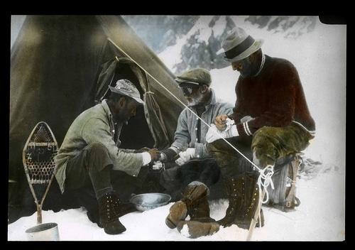 vintage african black men mountaineers camping