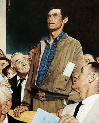 vintage man standing up in community meeting painting