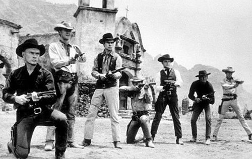 magnificent seven old western movie film group aiming runs rifles