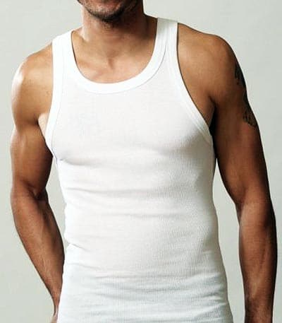 Vintage man wearing white cotton undershirt.