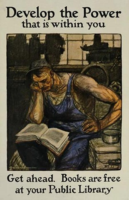 vintage public library poster blue collar worker reading book