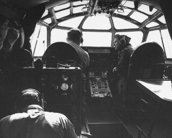Vintage airplane cockpit military aircraft.