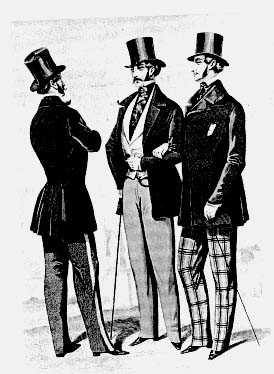 illustration victorian gentlemen talking in coats and top hats