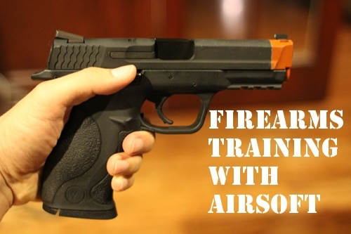 black airsoft pistol firearms training