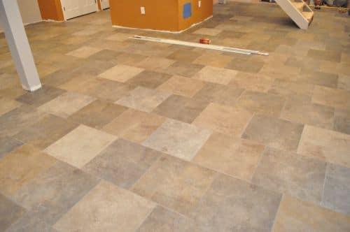 Vintage tile floor after cleaning tiles.