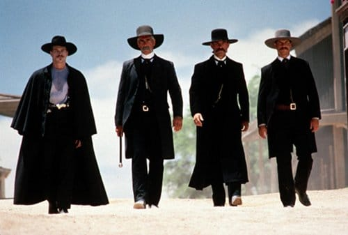 tombstone western movie walking down main street black clothes