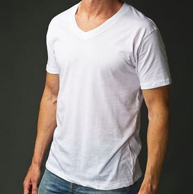 Vintage man wearing v-neck undershirt.