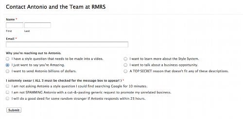 Gmail page contact Antonio and the team RMRS.