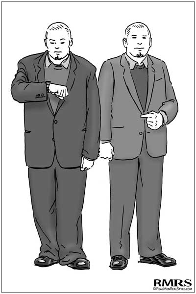 illustration large overweight man in well-fitting suit