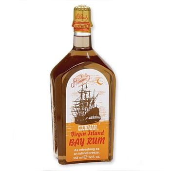 Bottle of clubman virgin island bay rum.