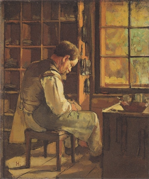Painting illustration of cobbler working on pair of shoes.