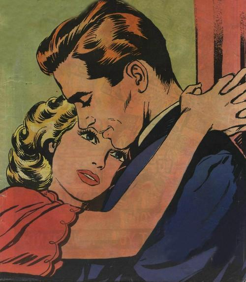 vintage illustration woman hugging man around the neck